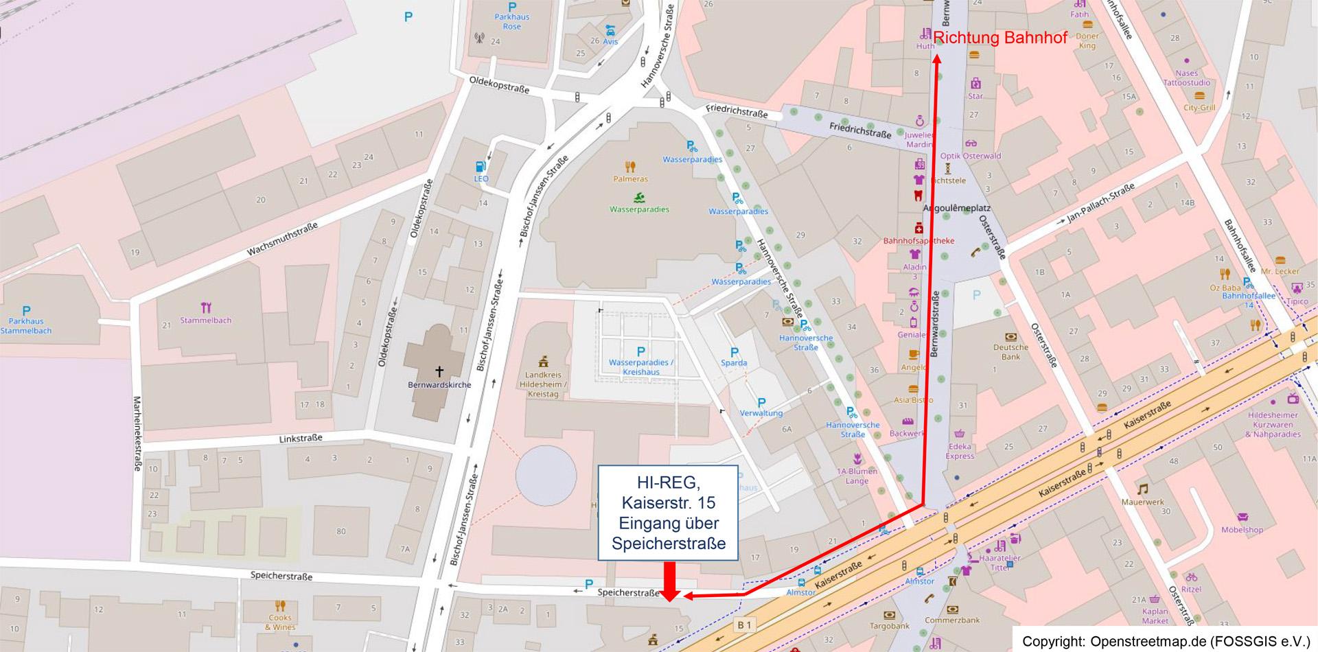Openstreet-Map Hildesheim Innenstadt-Bereich